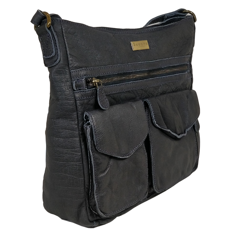 'WYNDRELL' Navy Washed Vintage Leather Shoulder Bag