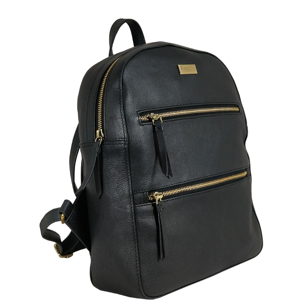 'MANOR' - Black Full Grain Leather Zip-top Backpack
