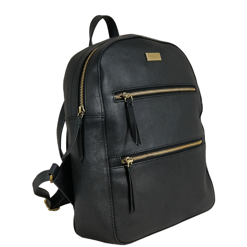 'MANOR' Black Full Grain Leather Zip-top Backpack
