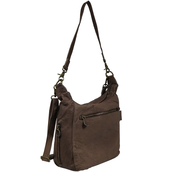 'JAMES' -  Dark Brown Vintage Aqua Leather Shoulder Bag