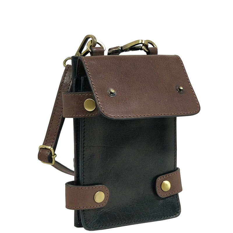 'SPADE' Black & Dark Brown Vintage Leather Bifold Mini Crossbody bag