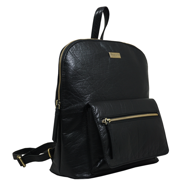'EUSTON' - Black Vintage Zip Top Small Leather Backpack