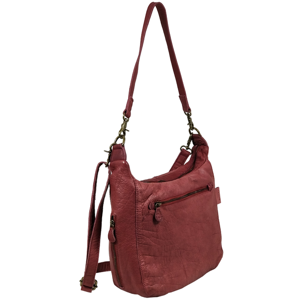 'JAMES' -  Cranberry Red Washed Vintage Leather Shoulder Bag