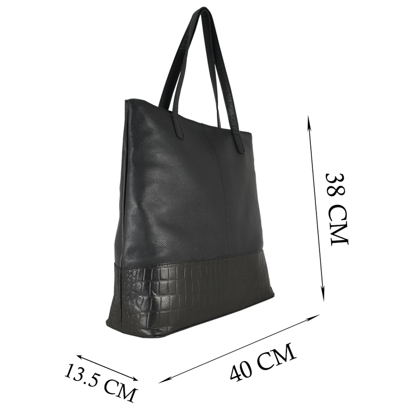 'SIENNA' Black Semi Soft Unlined Leather Tote Bag