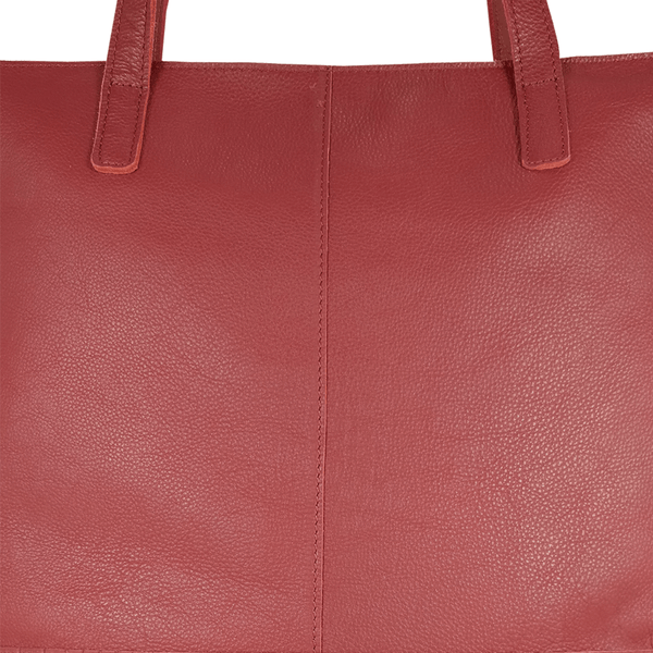'SIENNA' - Paprika Red Semi Soft Unlined Leather Tote Bag