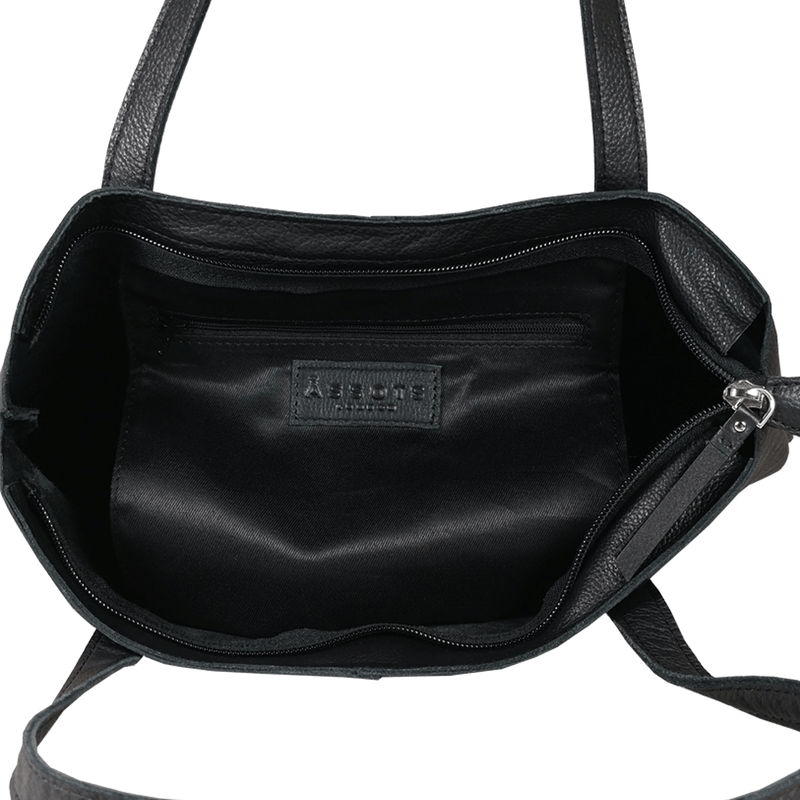 'SIENNA' - Black Semi Soft Unlined Leather Tote Bag