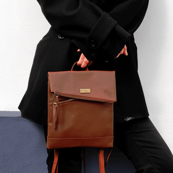 'SIERRA' Tan Pebble Grain Leather Mini Flap Over Backpack