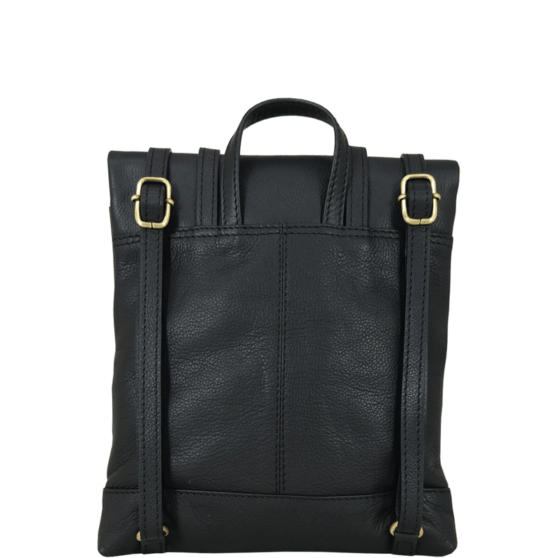 'SIERRA' - Black Pebble Grain Leather Mini Flap Over Backpack