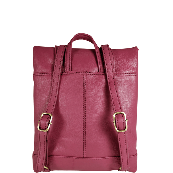 'SIERRA' Carmine Pink Pebble Grain Leather Mini Flap Over Backpack