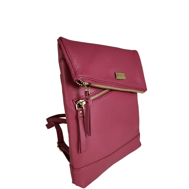 'SIERRA' - Carmine Pink Pebble Grain Leather Mini Flap Over Backpack