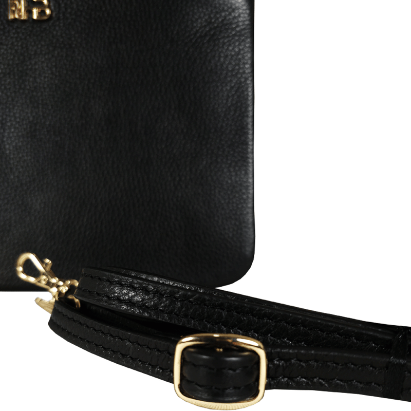 'SOPHIA' Black Pebble Grain Zip Top Leather Crossbody Bag