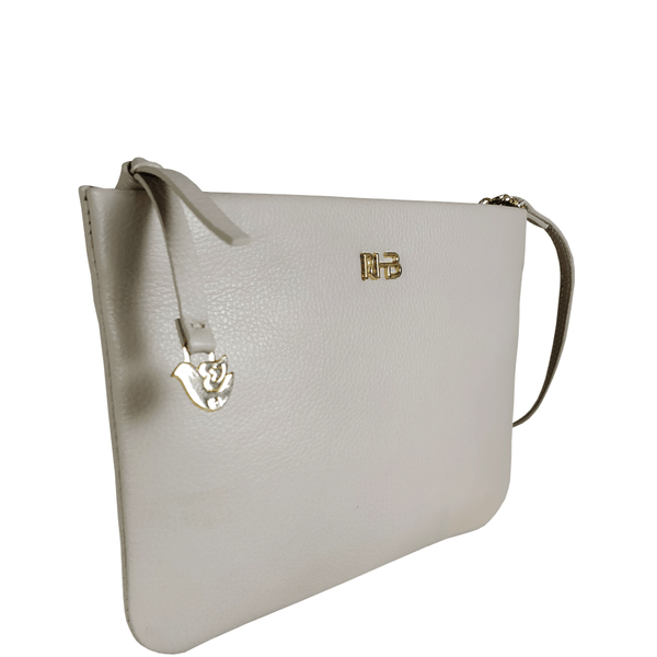 'SOPHIA' - Shell Grey Pebble Grain Zip Top Leather Crossbody Sling Bag