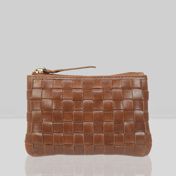 'STACEY' Tan Vintage Leather Woven Coin Purse