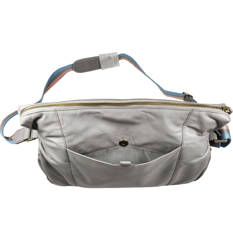 'SUZANNE' - Grey Lightweight Luxurious Baby Changing/Diaper Leather Crossbody Organiser Bag