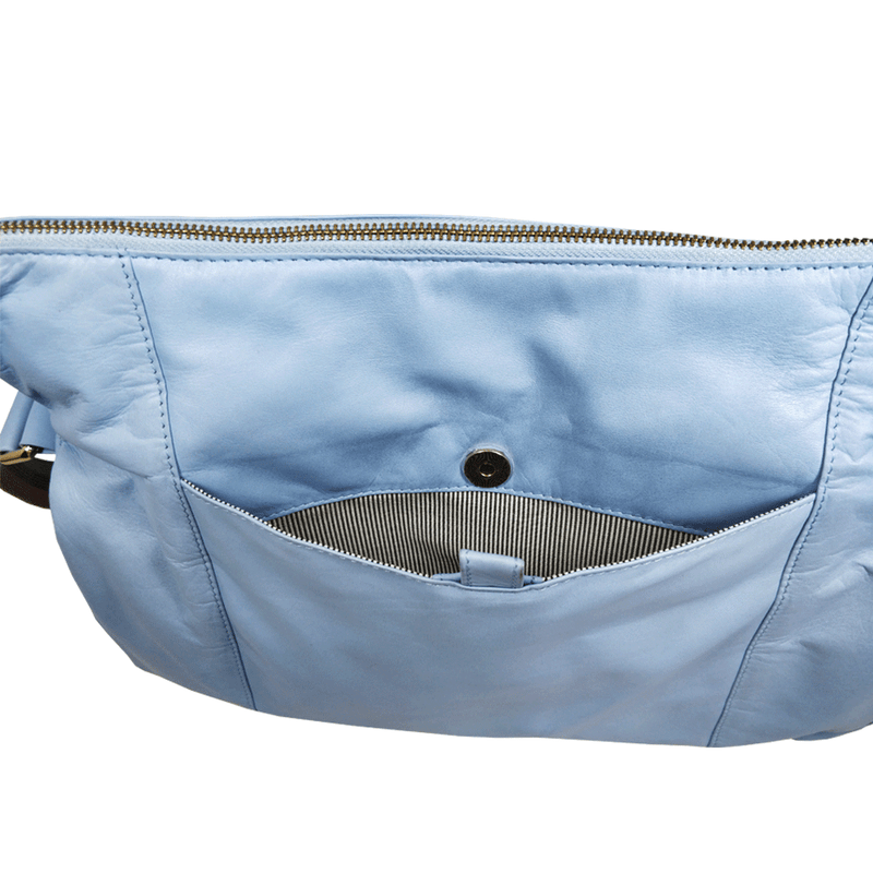 'SUZANNE' Baby Blue Lightweight Luxurious Baby Changing/Diaper Leather Crossbody Organiser Bag