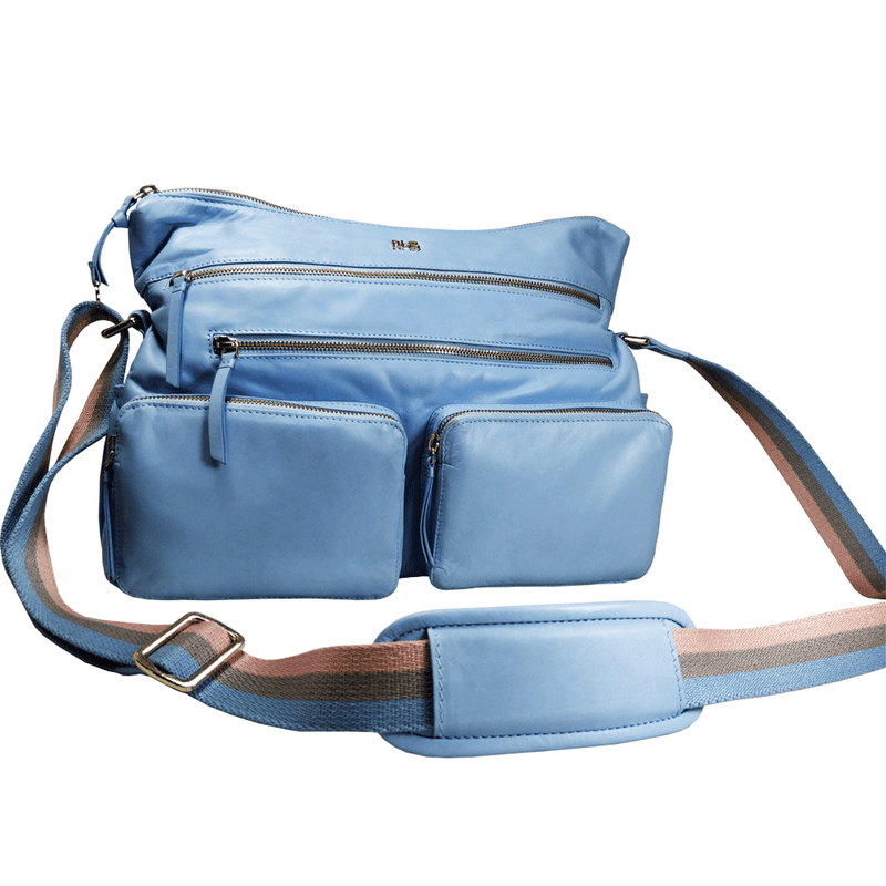 'SUZANNE' - Baby Blue Lightweight Luxurious Baby Changing/Diaper Leather Crossbody Organiser Bag