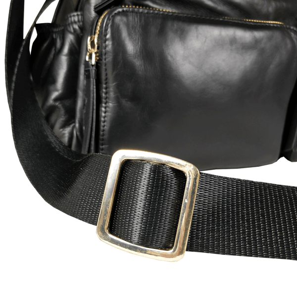 'SUZANNE' - Black Lightweight Luxurious Baby Changing/Diaper Leather Crossbody Organiser Bag