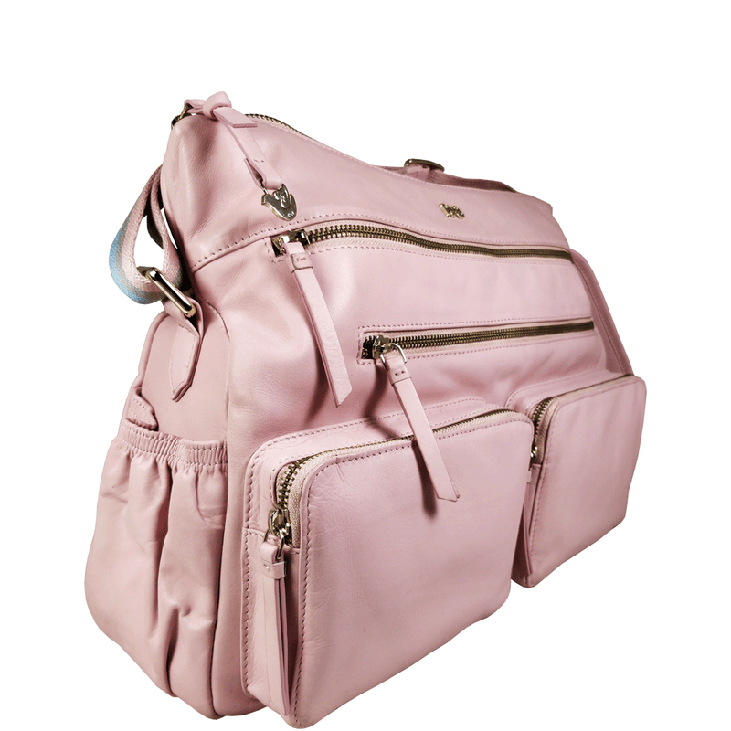 'SUZANNE' Baby Pink Lightweight Luxurious Baby Changing/Diaper Leather Crossbody Organiser Bag