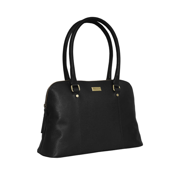 'SYDNEY' Black Lizard Designer Leather Grab Bag