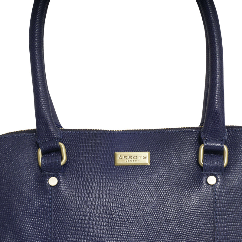 'SYDNEY' Navy Lizard Designer Leather Grab Bag