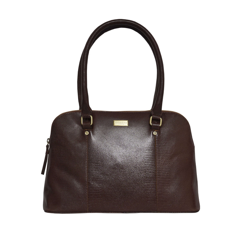 'SYDNEY' Brown Lizard Designer Leather Grab Bag