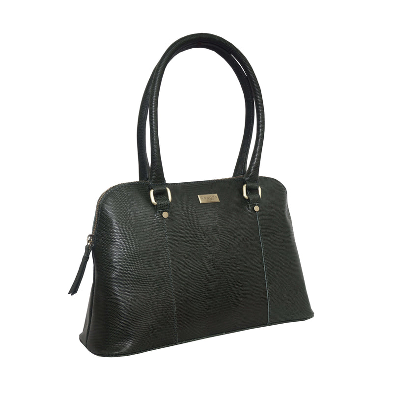 'SYDNEY' Forest Green Lizard Designer Leather Grab Bag