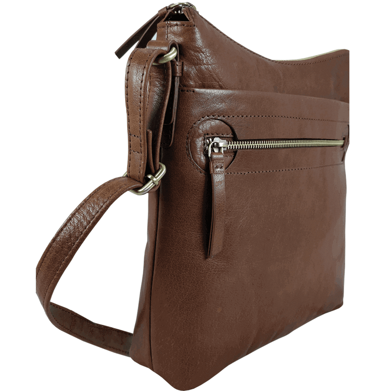 'VICTORIA' - Brown Vintage Leather Crossbody Shoulder Sling Bag