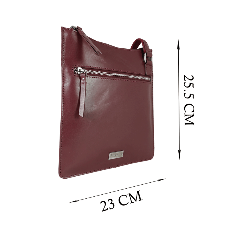 'WILLOW' Burgundy Smooth Leather Crossbody Bag