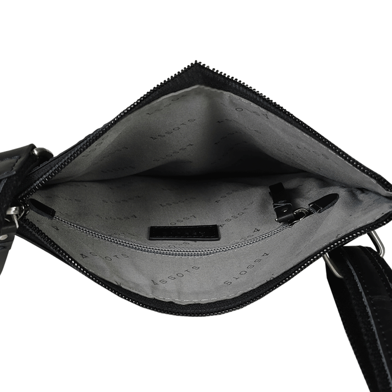'WILLOW' Black Smooth Leather Crossbody Bag