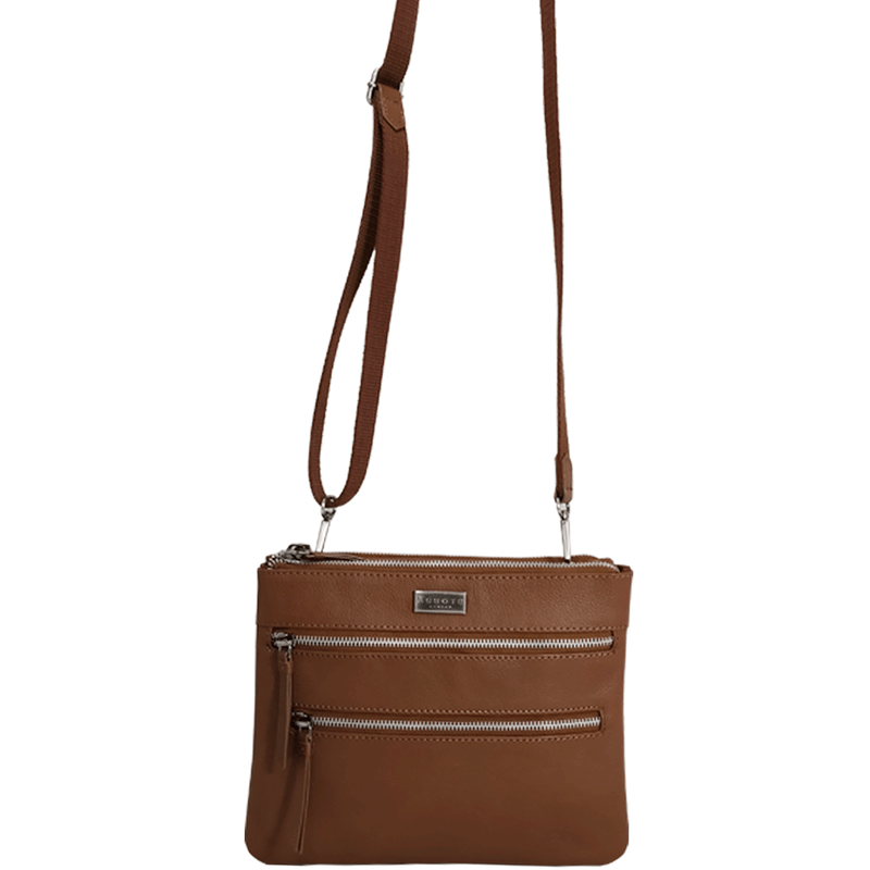 'WINDSOR' - Tan Nappa Pebble Grain Leather Zip Top Organiser Crossbody Bag