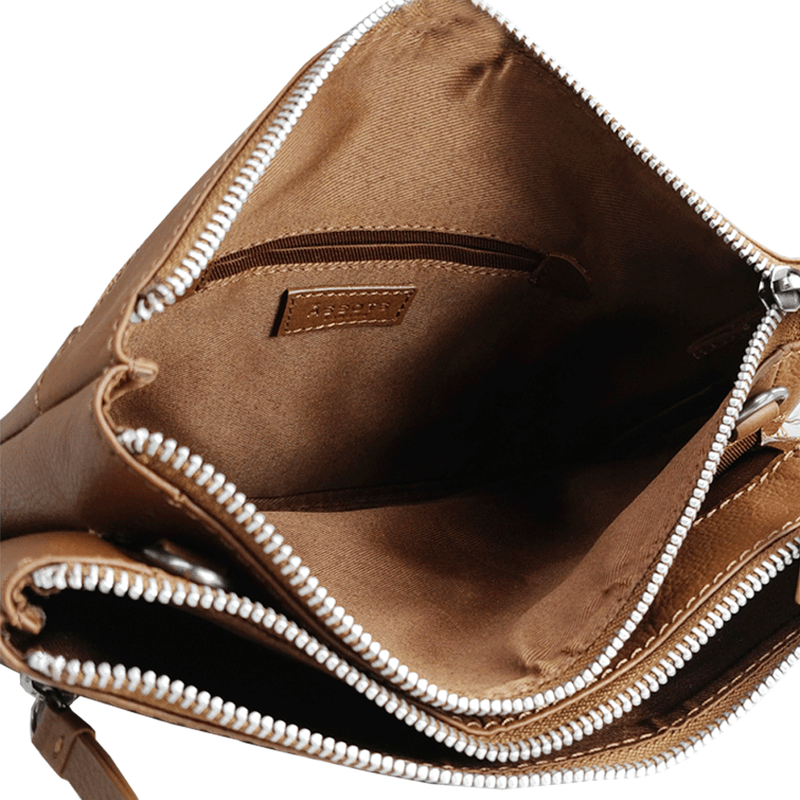 'WINDSOR' Tan Nappa Leather Zip Top Crossbody Bag