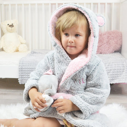 personalised grey fleece bunny baby robe