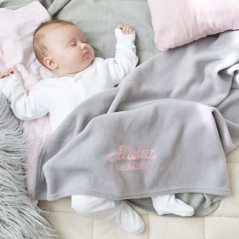 personalised fleece grey blanket for baby and toddlers
