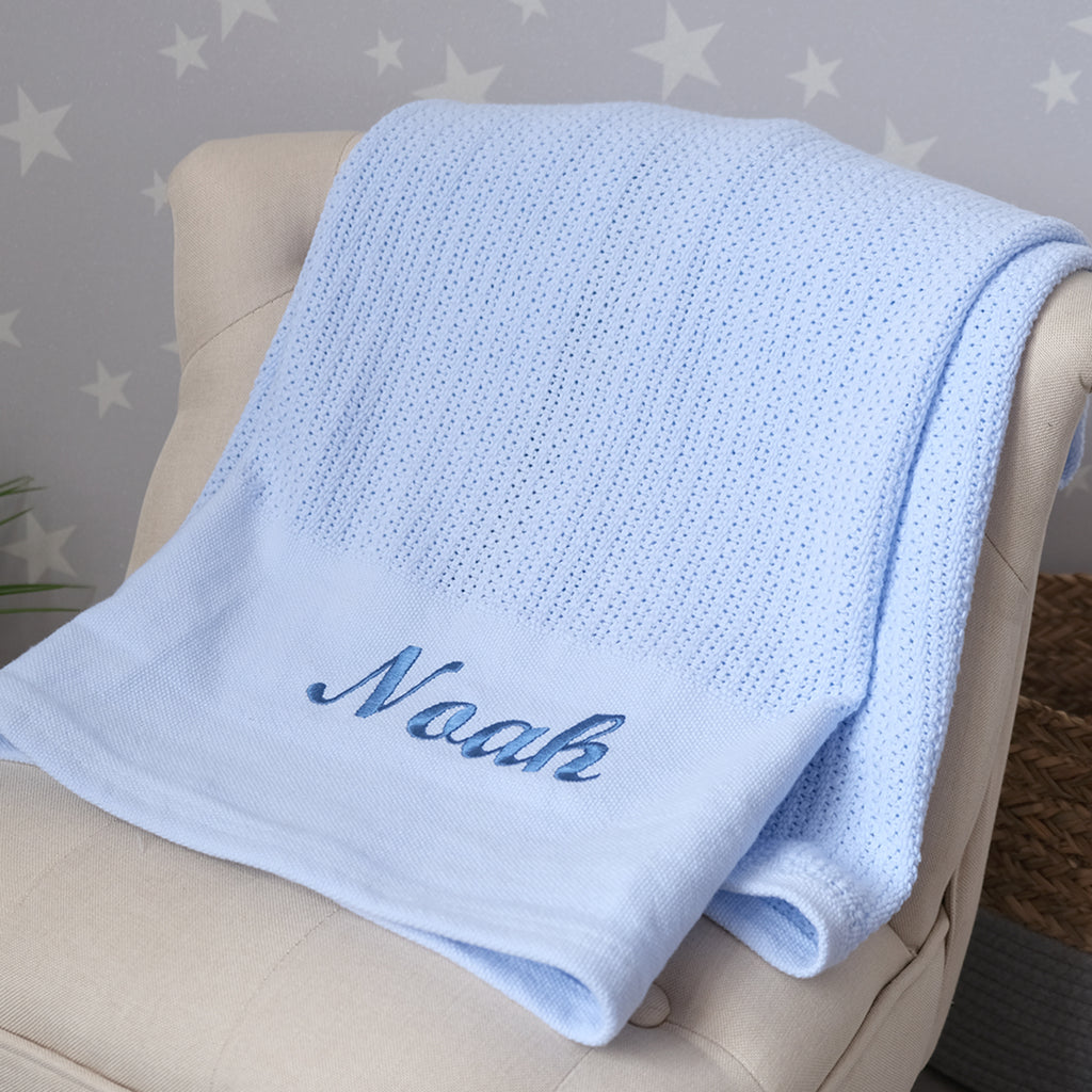 personalised blue baby cellular blanket