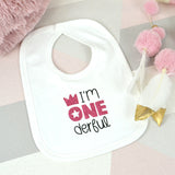 Pink Glitter 1st Birthday Cotton Bib