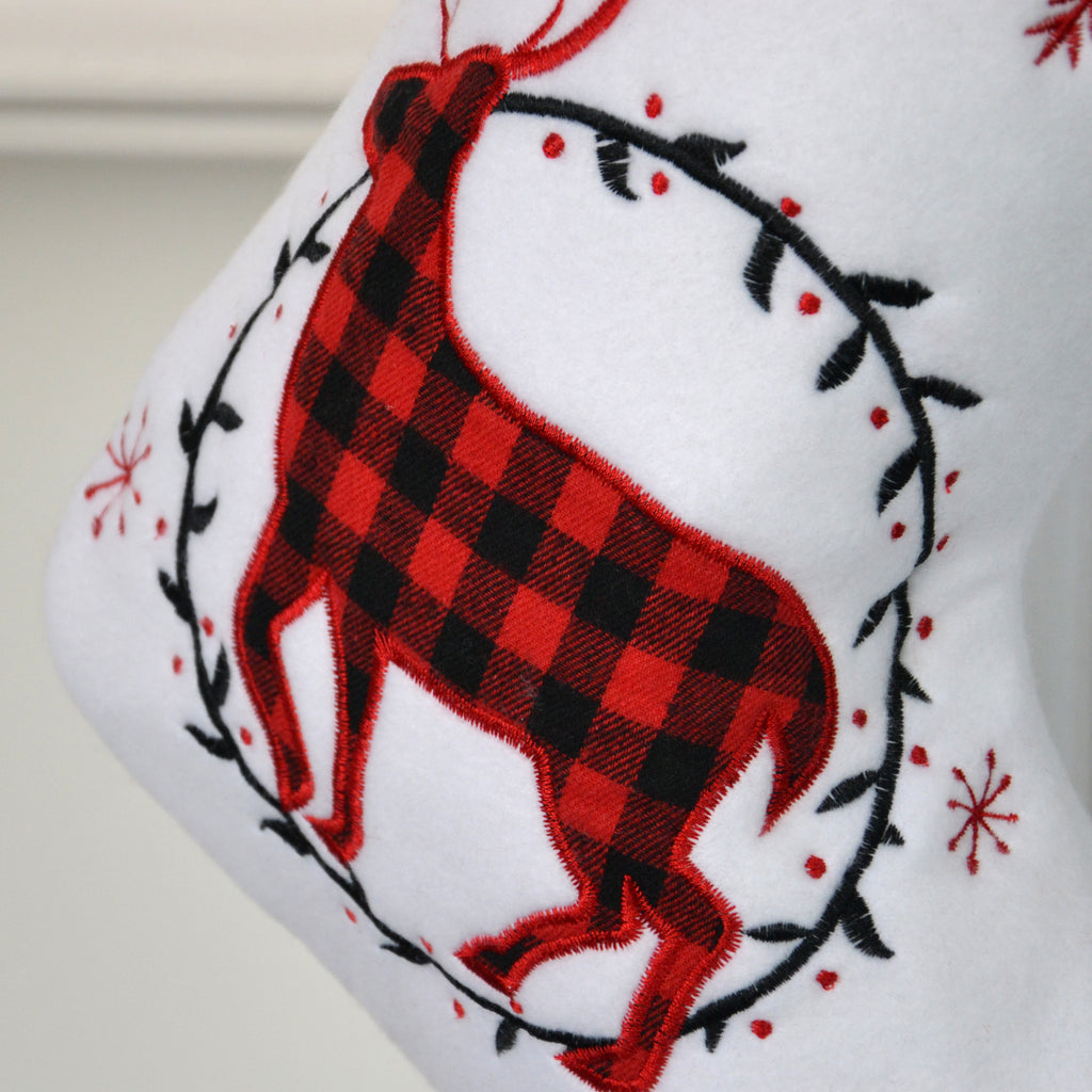 Personalised Tartan White Stocking With Reindeer