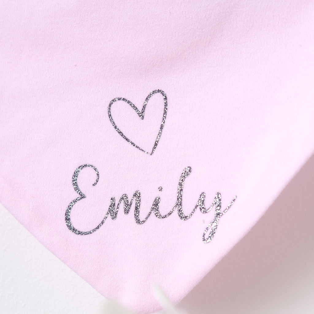 Personalised Extra Fluffy White Blanket with pom pom trim