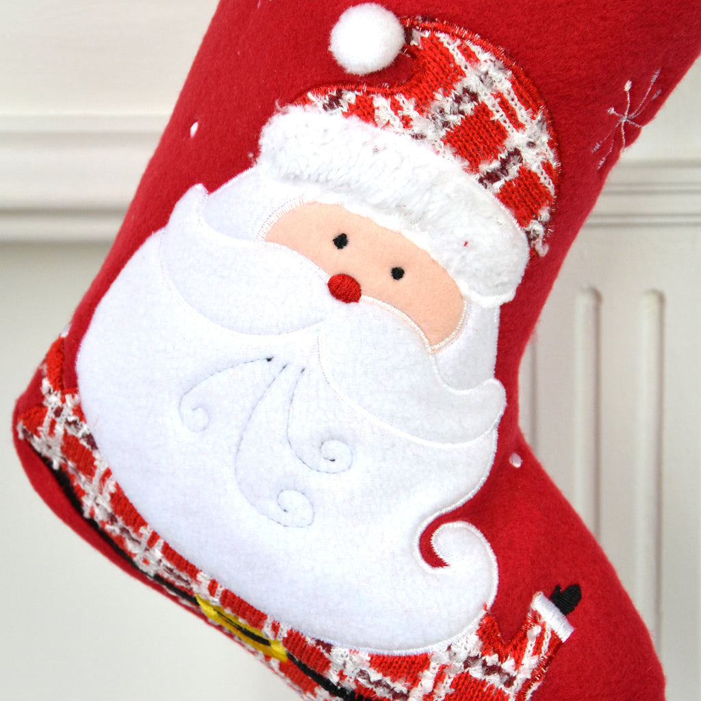 Personalised Red Santa Wearing Tartan Stocking