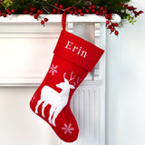 Personalised Red Christmas Stocking With Plush Reindeer