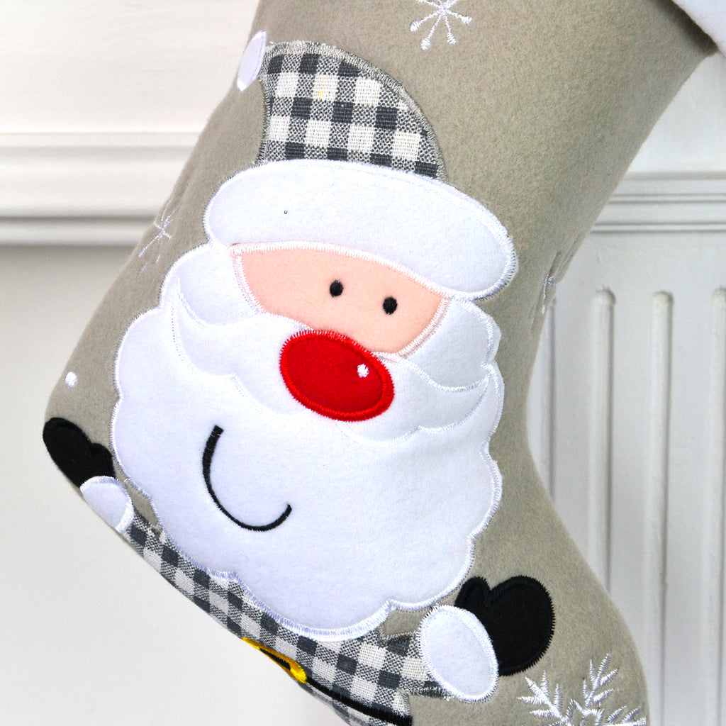 Personalised Grey Christmas Stocking With Santa