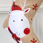 Personalised Hessian Tartan Reindeer Christmas Stocking