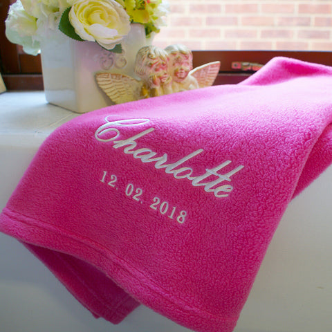 Personalised Fuchsia Pink Fleece Baby Blanket