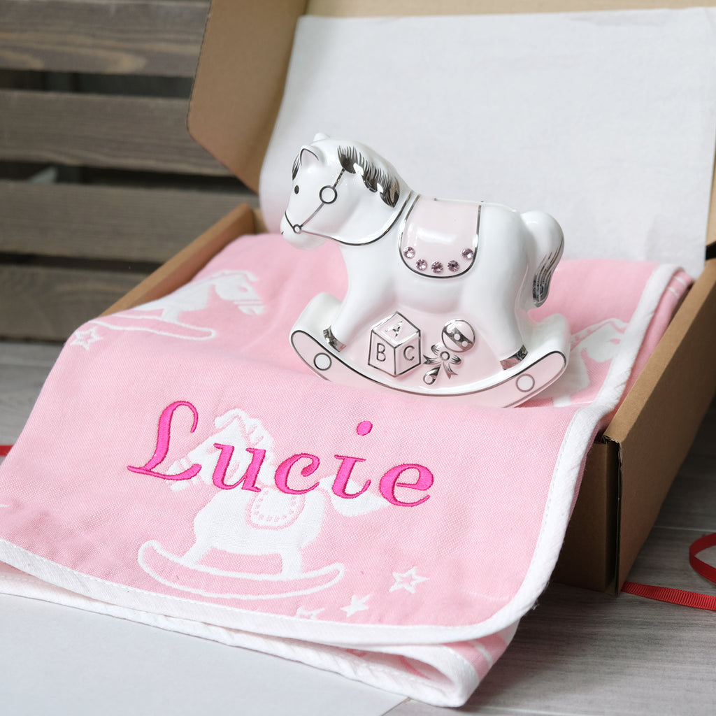 personalised pink cotton baby blanket