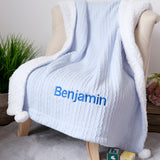 Personalised Cotton Blue Elephant Blanket and royal blue name