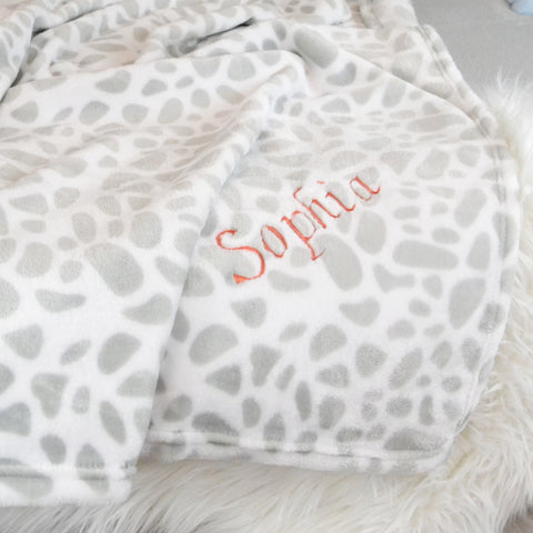 Personalised Grey Pattern Fleece Blanket