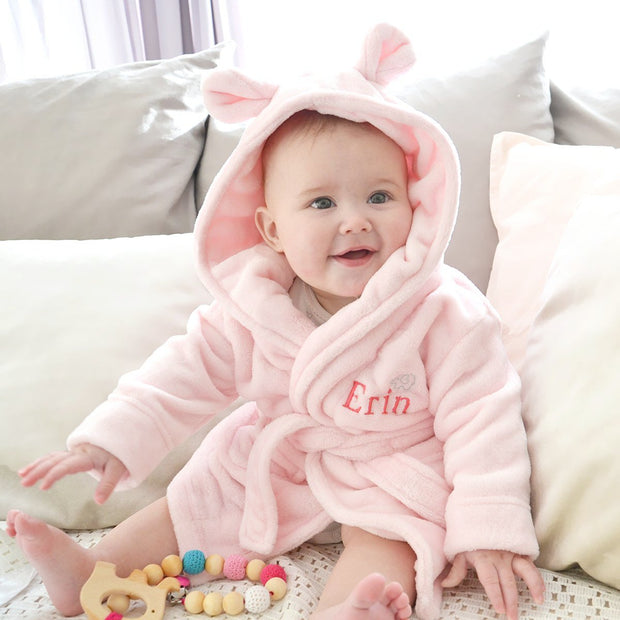 personalised pink baby robe and fleece dressing gowns | DCaro