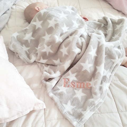 Personalised Star Mink Baby Blanket
