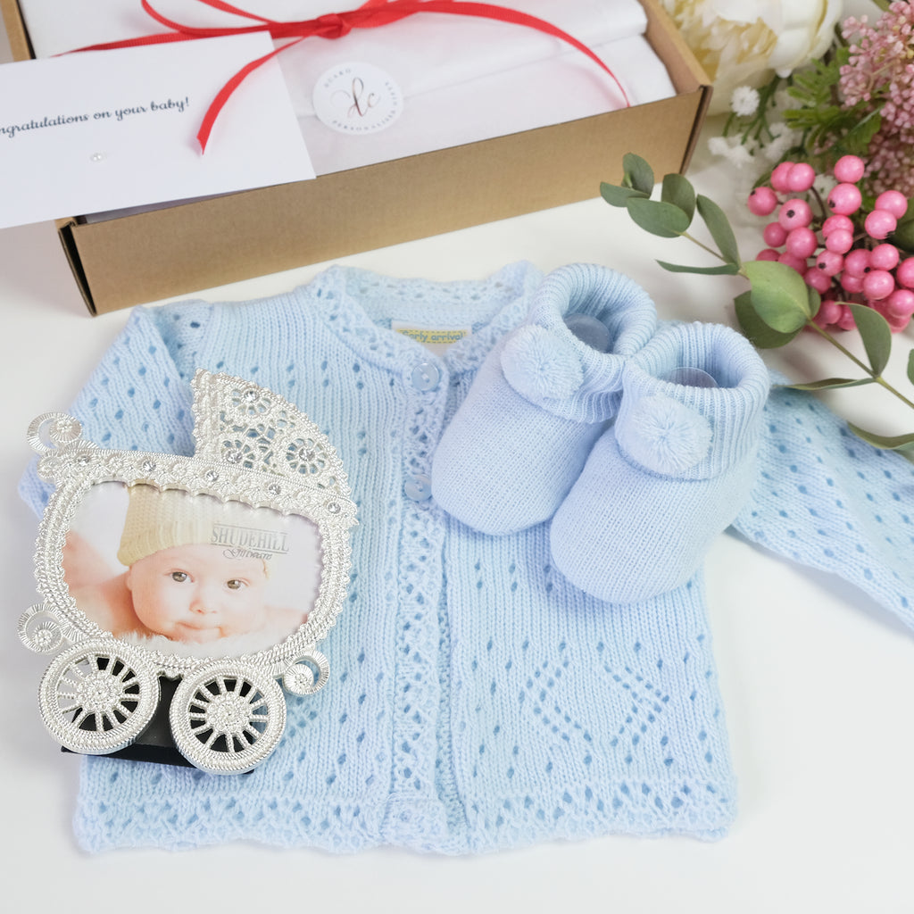 Personalised new baby gift set