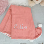 Personalised Coral Knitted Baby Blanket With Pom Poms