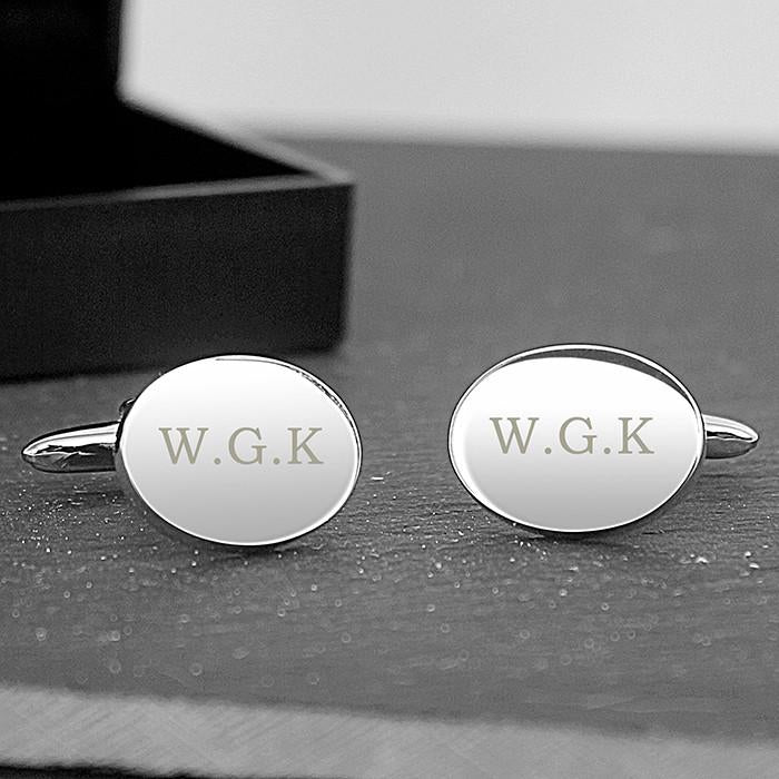 Engraved Oval Cufflinks-Dcaro Personalised Gifts